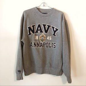 Navy Annapolis Gray Crewneck Sweatshirt